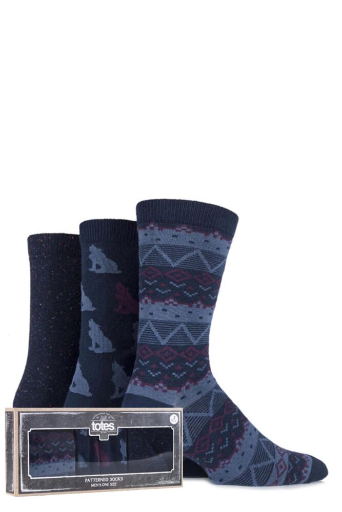 Mens 3 Pair Totes Gift Boxed Wolf, Fair Isle and Plain Cotton Socks