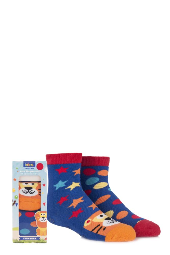 Boys 2 Pair Totes Tots Circus Lion Slipper Socks with Grip