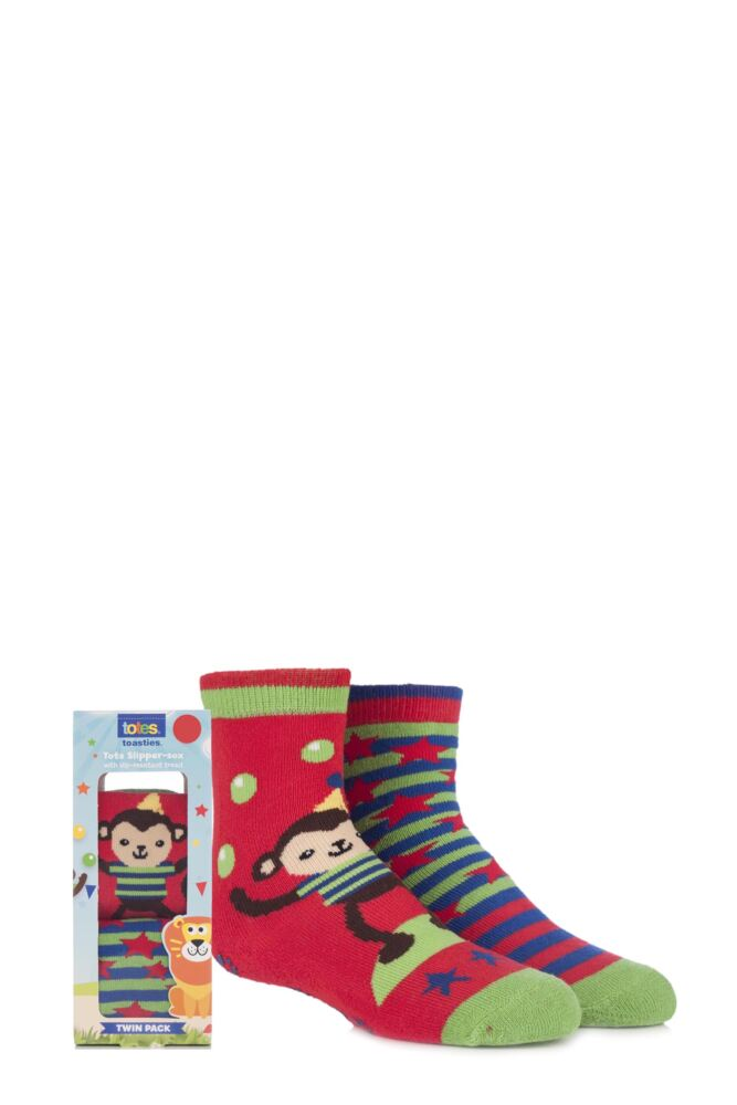 Boys 2 Pair Totes Tots Circus Monkey Slipper Socks with Grip