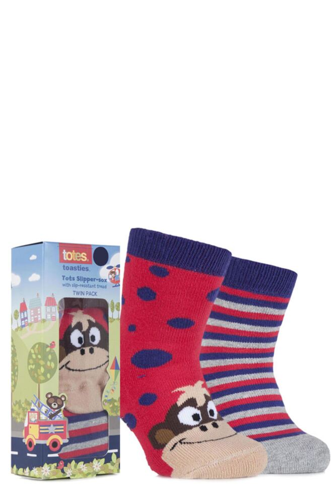 Boys 2 Pair Totes Tots Novelty Slipper Socks with Grip