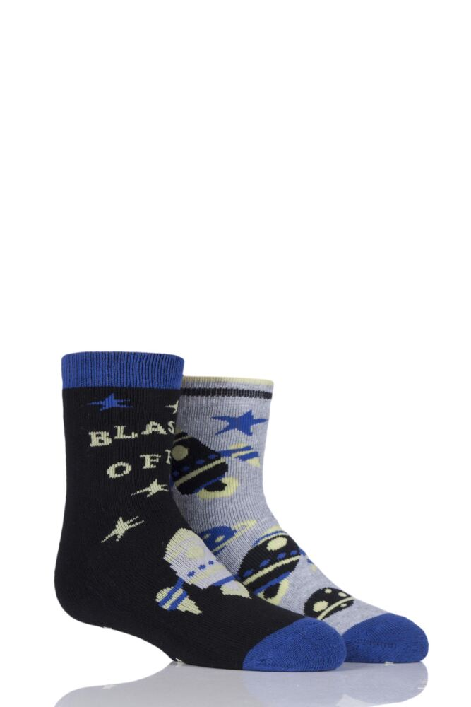 Boys 2 Pair Totes Tots Novelty Spaceman Slipper Socks with Grip