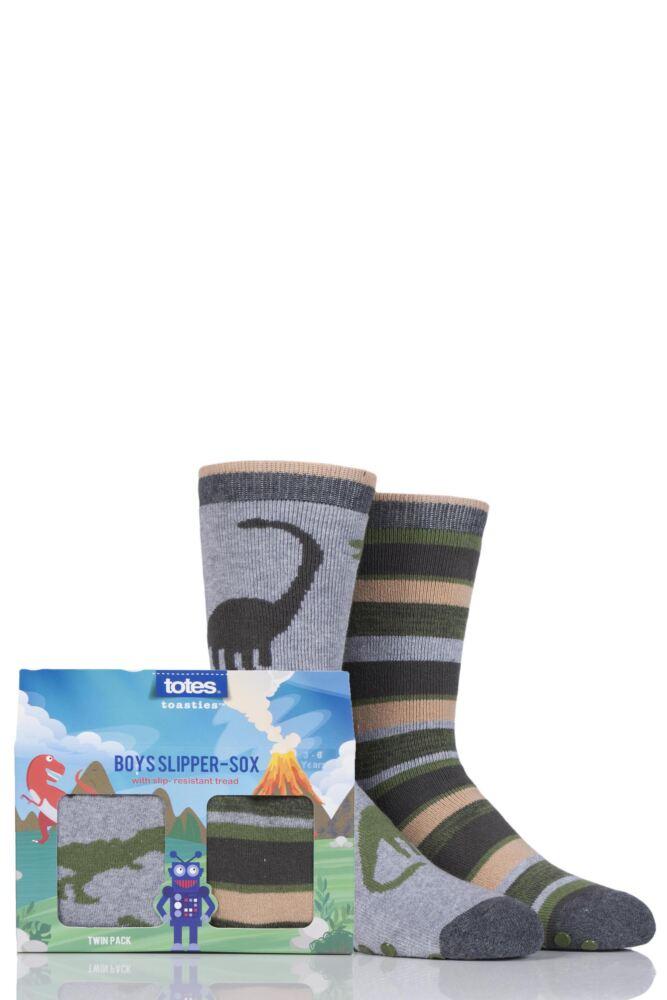 Boys 2 Pair Totes Novelty Dinosaur Slipper Socks with Grip