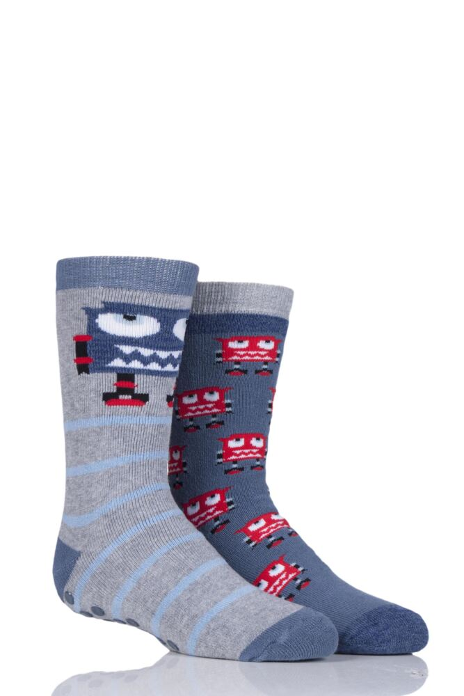 Boys 2 Pair Totes Novelty Robots Slipper Socks with Grip