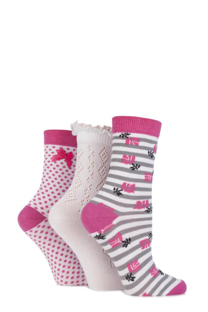 Ladies 3 Pair Totes Laced Pelerine, Striped Floral and Spotty Cotton Socks 33% OFF