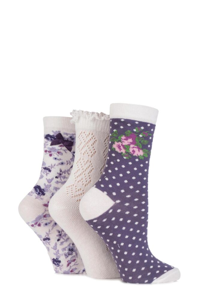 Ladies 3 Pair Totes Laced Pelerine, Floral and Spotty Cotton Socks 25% OFF
