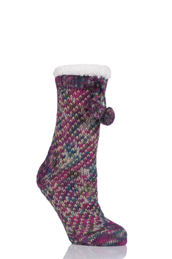 Ladies 1 Pair Totes Fleece Lined Textured Rib Slipper Socks with Pom Pom