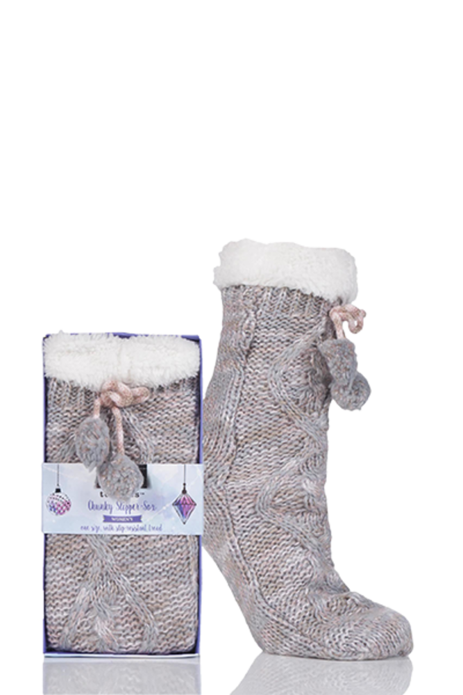 Totes Fleece Lined Textured Rib Slipper Socks with Pom Pom