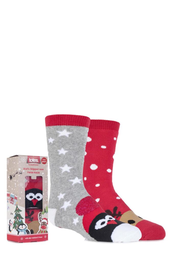 Boys and Girls 2 Pair Totes Christmas Novelty Reindeer and Penguin Slipper Socks with Grip