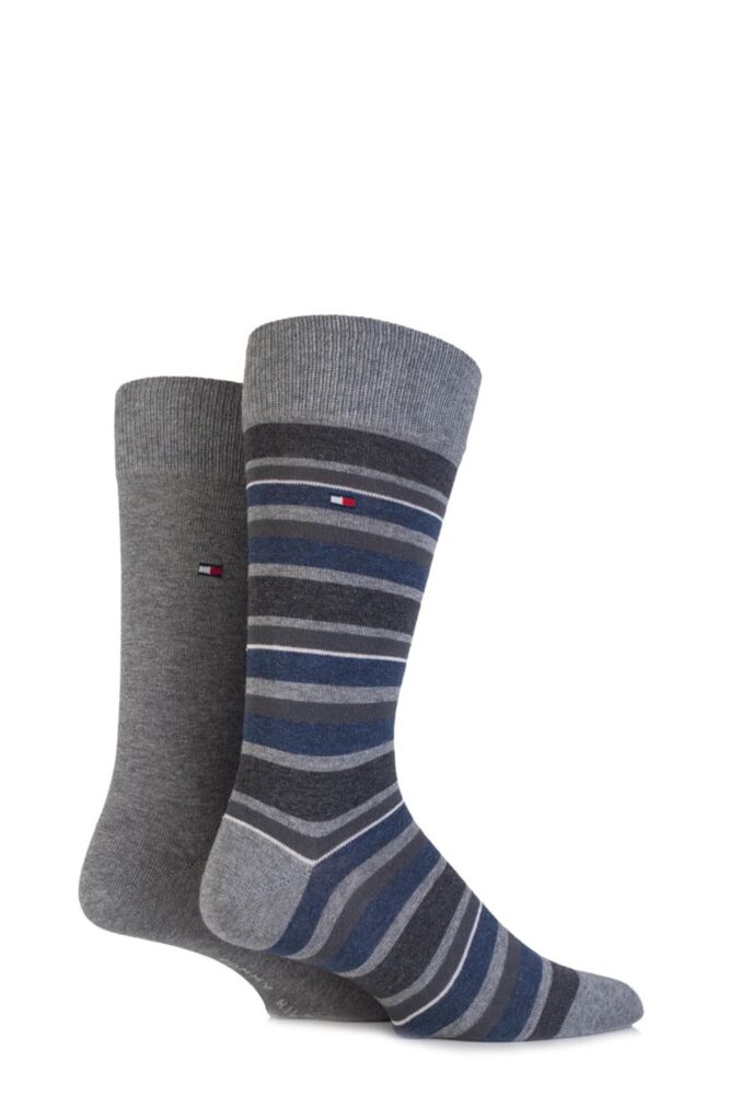 Mens 2 Pair Tommy Hilfiger Variation Striped Cotton Socks