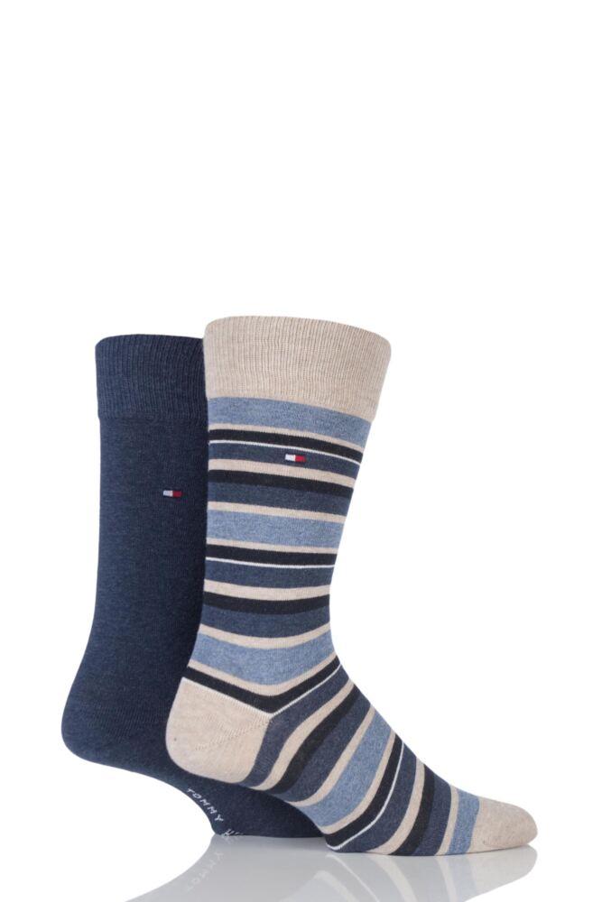Mens 2 Pair Tommy Hilfiger Variation Striped Cotton Socks