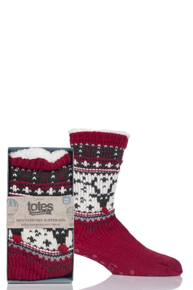 Mens 1 Pair Totes Sherpa Lined Textured Fairisle Slipper Socks