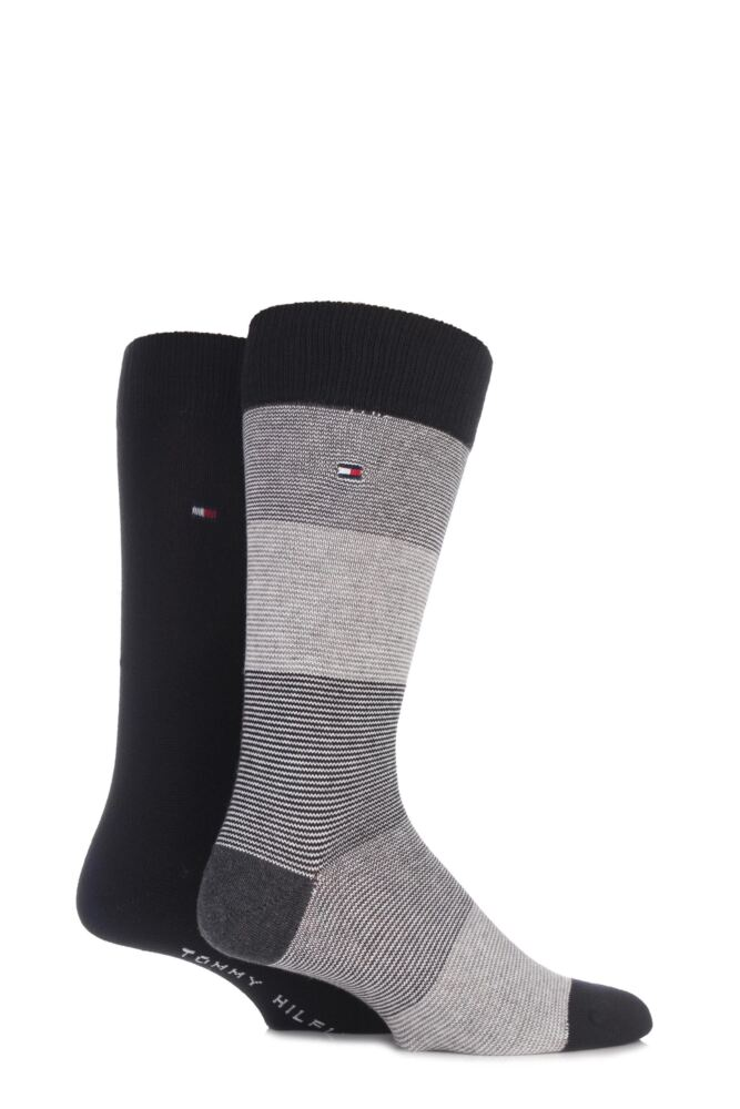 Mens 2 Pair Tommy Hilfiger Block Striped and Plain American Soft Cotton Socks