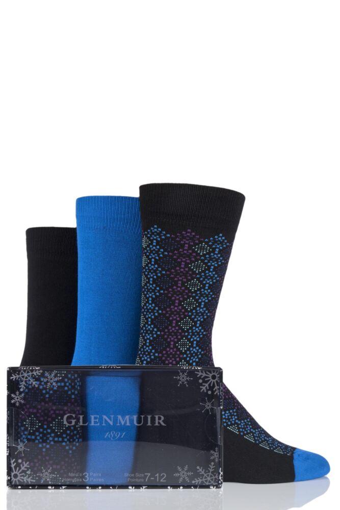 Mens 3 Pair Glenmuir Mosaic and Plain Bamboo Socks Gift Box