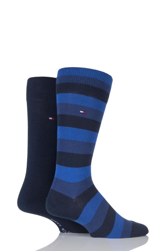 Mens 2 Pair Tommy Hilfiger Regency Striped and Plain Cotton Socks