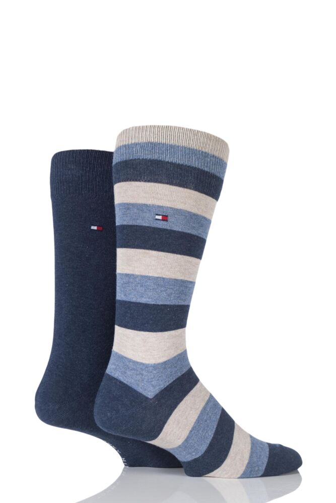 Mens 2 Pair Tommy Hilfiger Regency Striped and Plain Cotton Socks