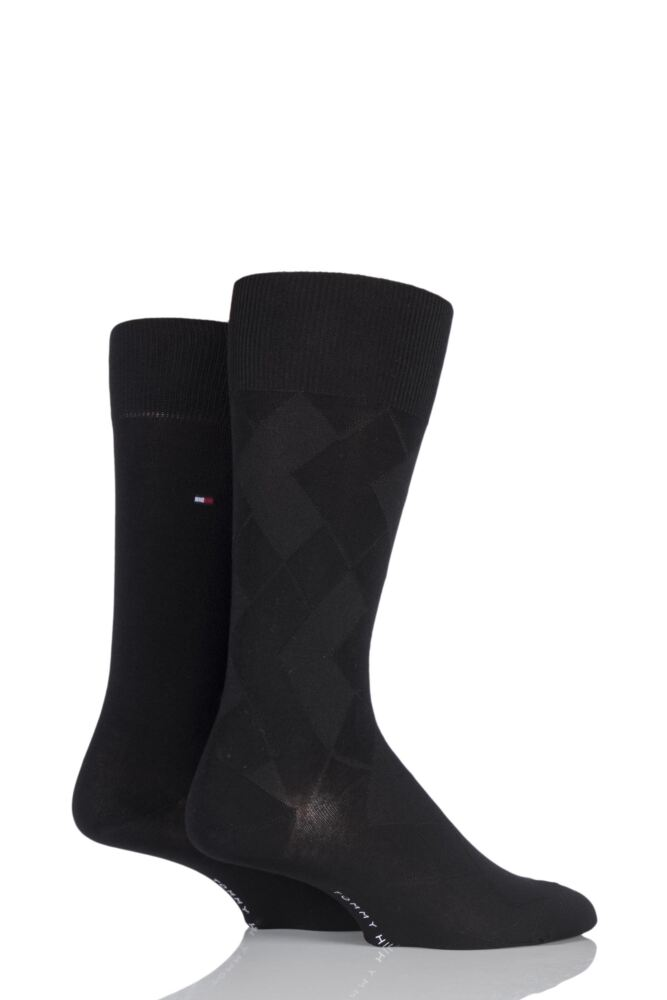 Mens 2 Pair Tommy Hilfiger Broken Structure Diamond Cotton Socks 25% OFF