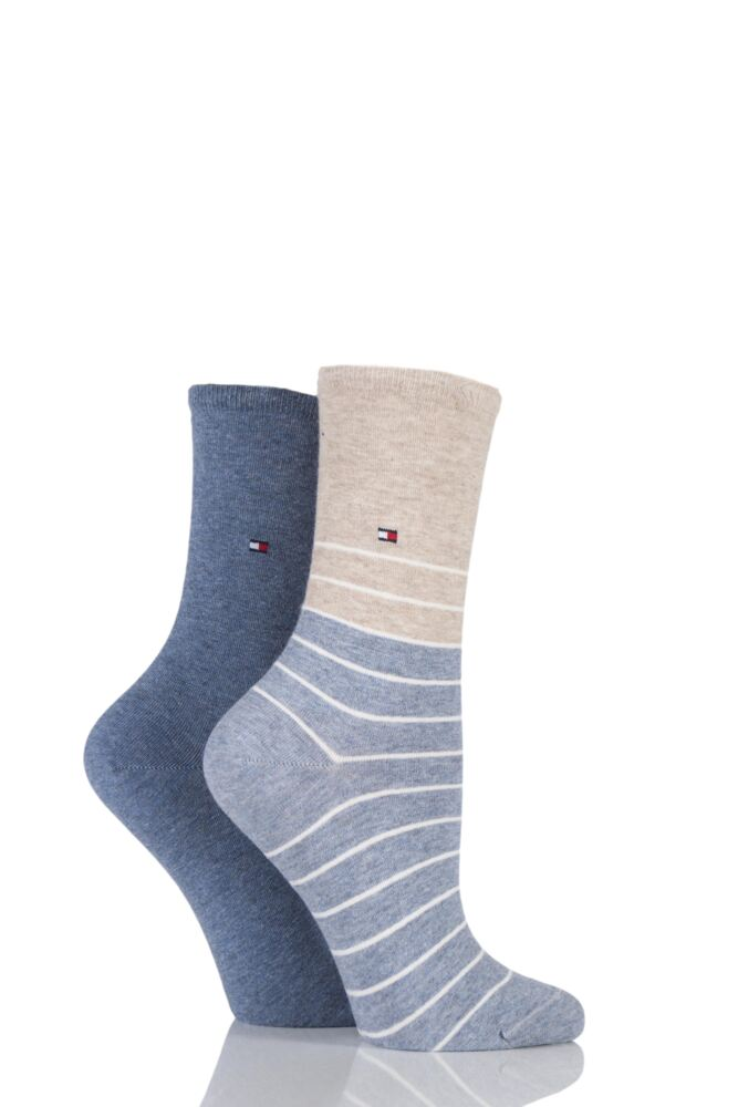 Ladies 2 Pair Tommy Hilfiger Breton Striped Cotton Socks