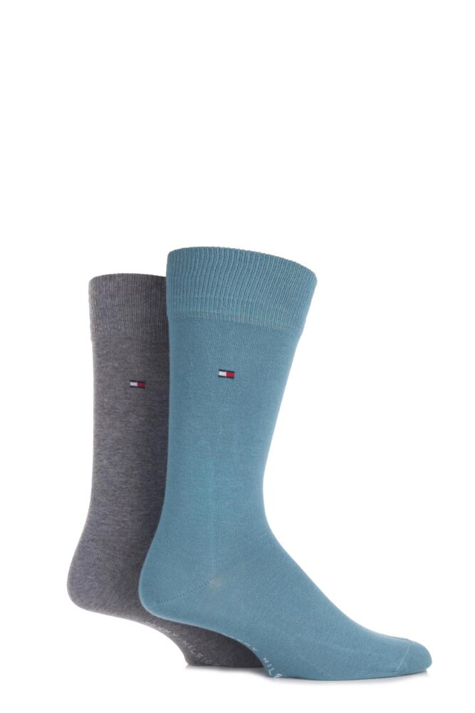 Mens 2 Pair Tommy Hilfiger Classic Plain Cotton Socks