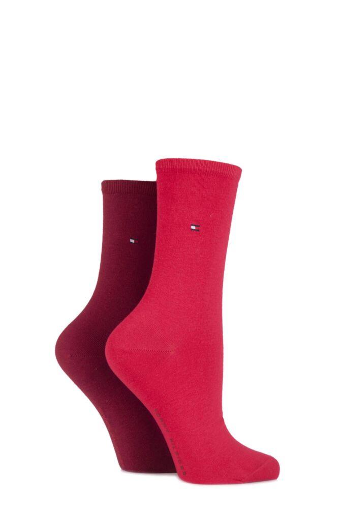 Ladies 2 Pair Tommy Hilfiger Plain Cotton Socks
