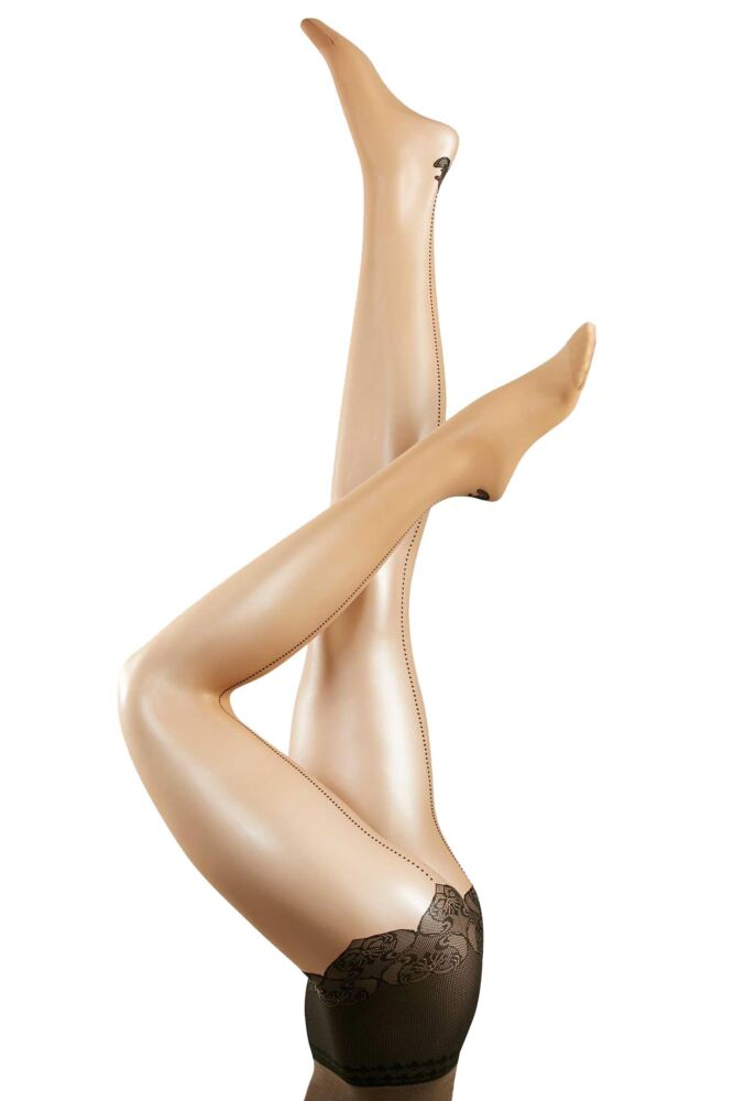 Ladies 1 Pair Falke Fine Back Seamed Tights with Mock Briefs