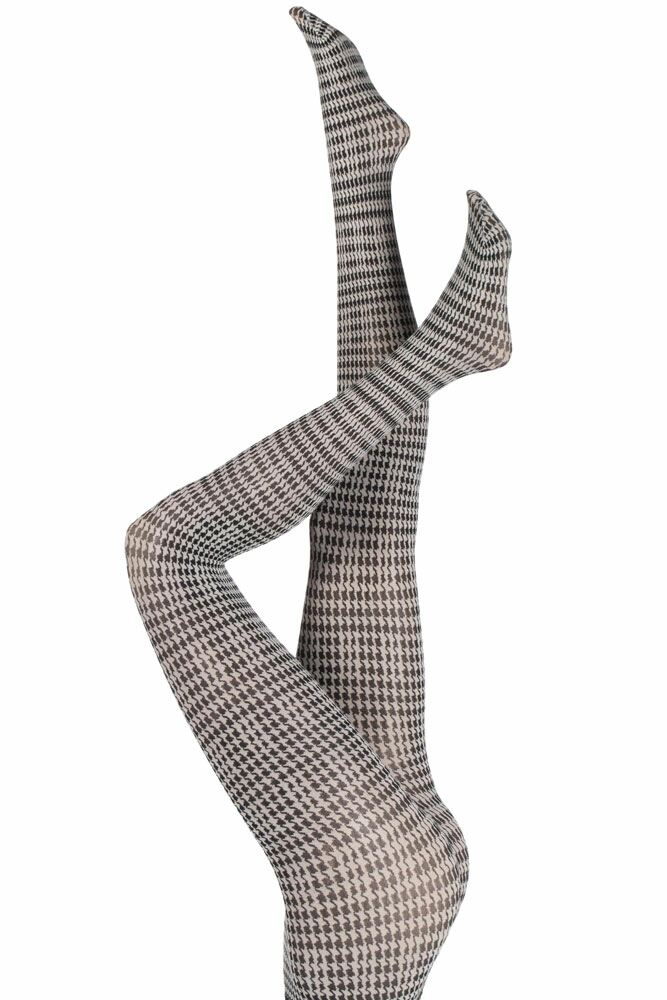 Ladies 1 Pair Falke Pied De Poule Houndstooth Tights