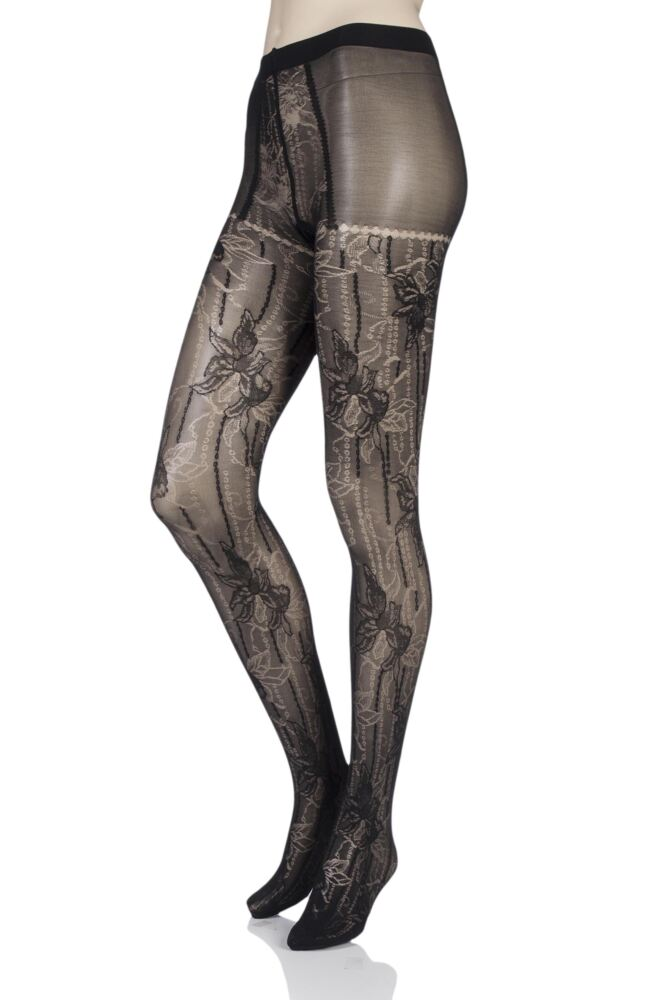 Ladies 1 Pair Falke Antique Floral Tights