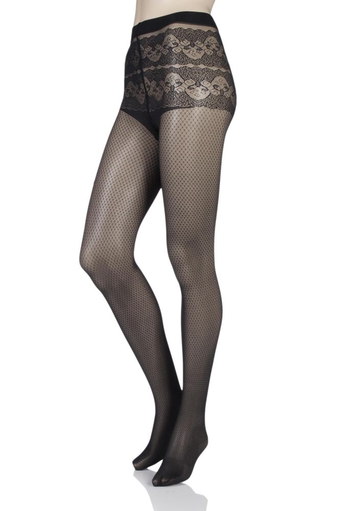 Ladies 1 Pair Falke Chiselled Diamond Tights with Lace Effect Top