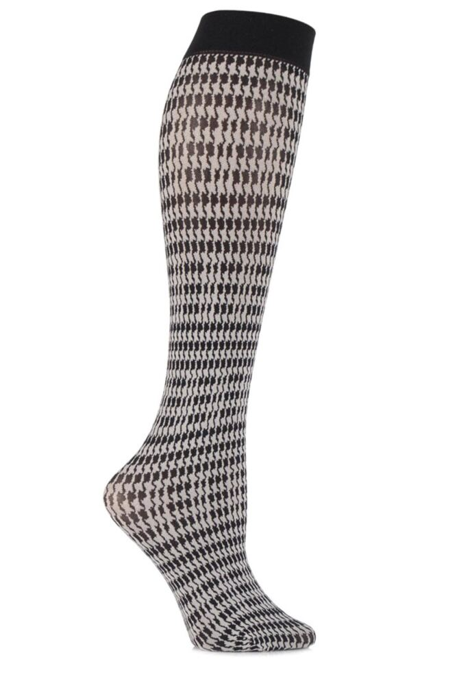 Ladies 1 Pair Falke Pied De Poule Houndstooth Knee Highs 25% OFF