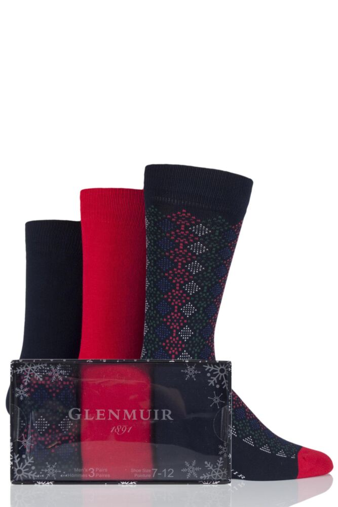 Mens 3 Pair Glenmuir Mosaic and Plain Bamboo Socks Gift Box