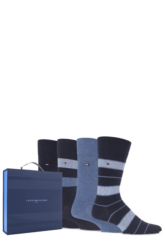 Mens 4 Pair Tommy Hilfiger Gift Boxed Plain and Striped Socks
