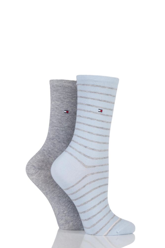 Ladies 2 Pair Tommy Hilfiger Stripe and Plain Cotton Socks