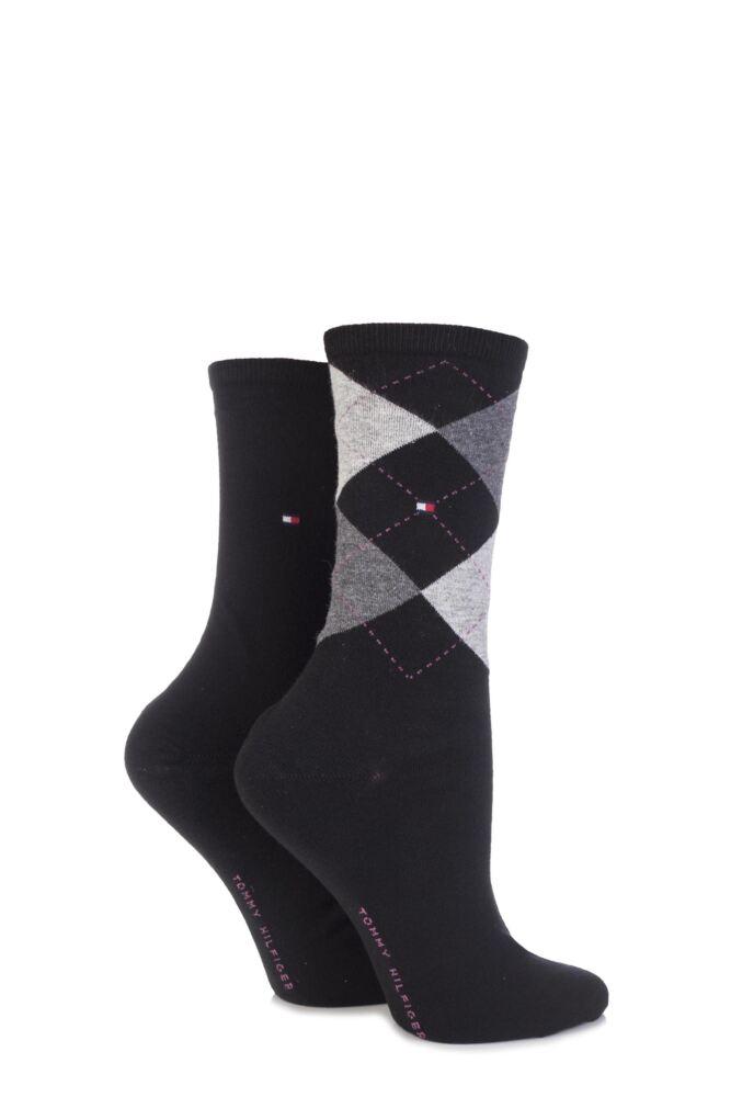 Ladies 2 Pair Tommy Hilfiger Argyle and Plain Cotton Socks