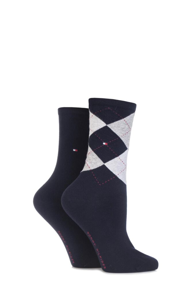 Ladies 2 Pair Tommy Hilfiger Argyle and Plain Cotton Socks