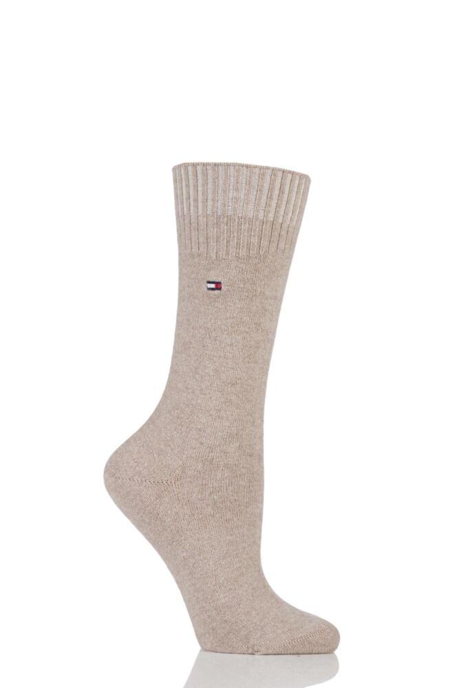 Ladies 1 Pair Tommy Hilfiger Plain Diamond Top Cashmere Socks
