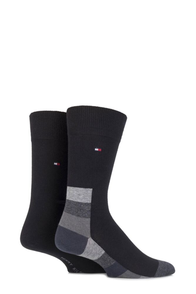 Mens 2 Pair Tommy Hilfiger Cotton Hidden Art Striped Base and Plain Socks