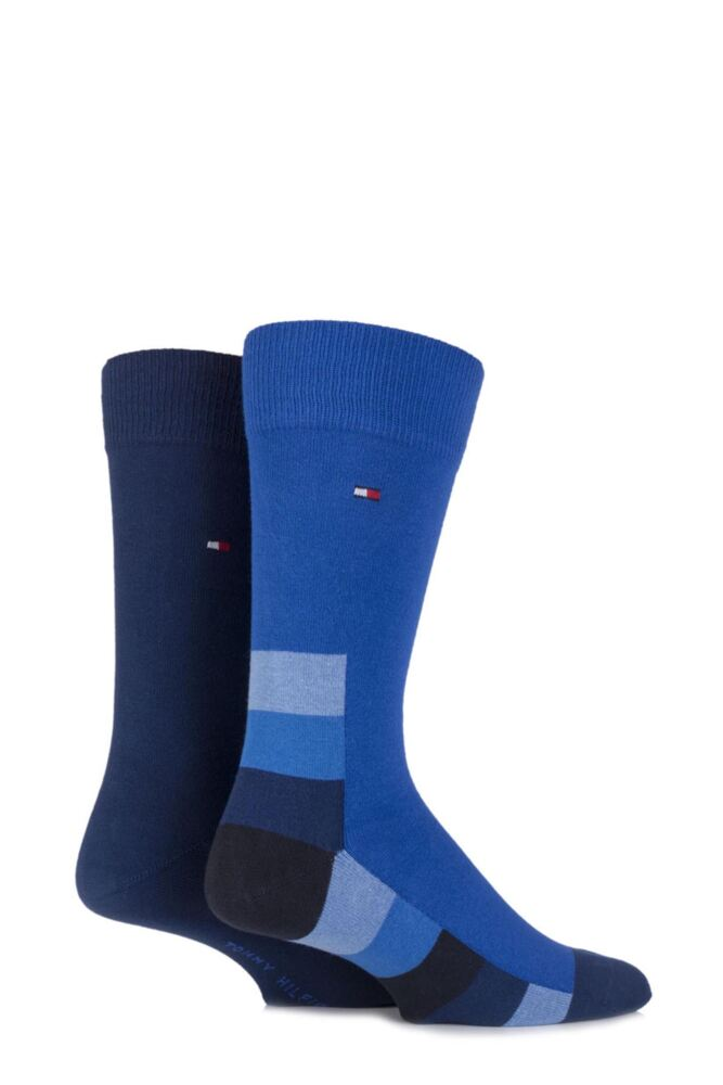 Mens 2 Pair Tommy Hilfiger Cotton Hidden Art Striped Base and Plain Socks 25% OFF