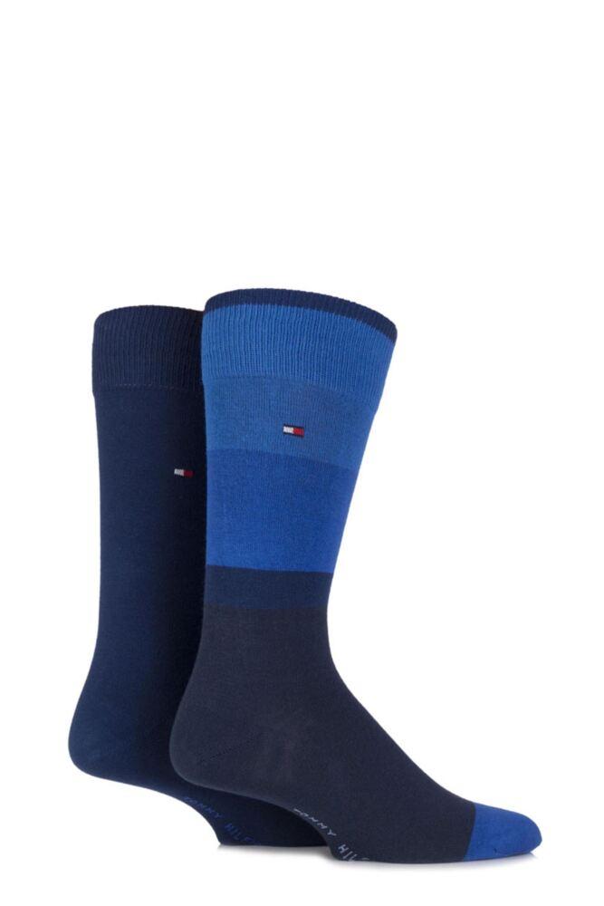 Mens 2 Pair Tommy Hilfiger Cotton Coat Art Block Striped Socks 33% OFF