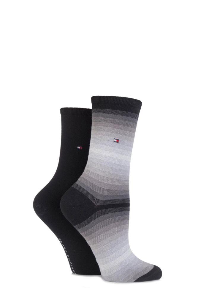 Ladies 2 Pair Tommy Hilfiger Cotton Soundwave Striped Socks