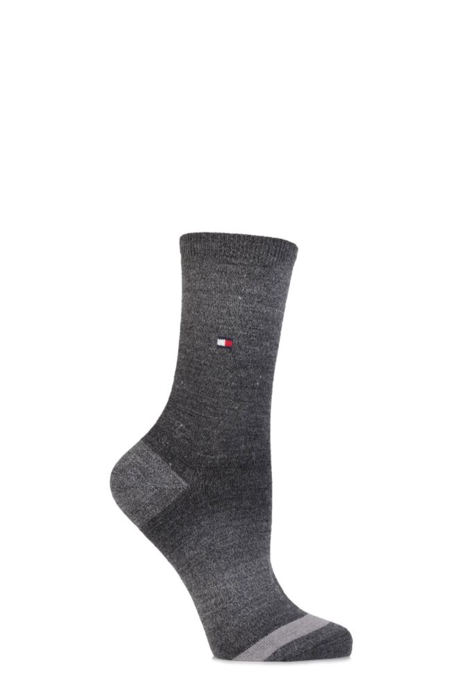 Ladies 1 Pair Tommy Hilfiger Wool Faded Yarn Striped Socks