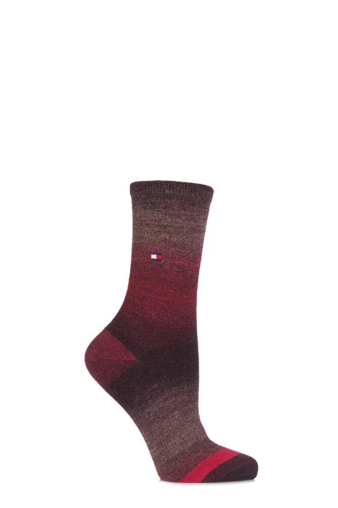 Ladies 1 Pair Tommy Hilfiger Wool Faded Yarn Striped Socks 25% OFF