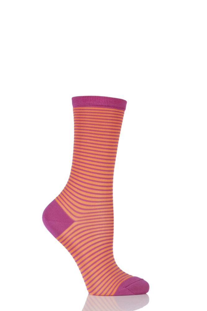 Ladies 1 Pair Falke Textured Fine Striped Socks