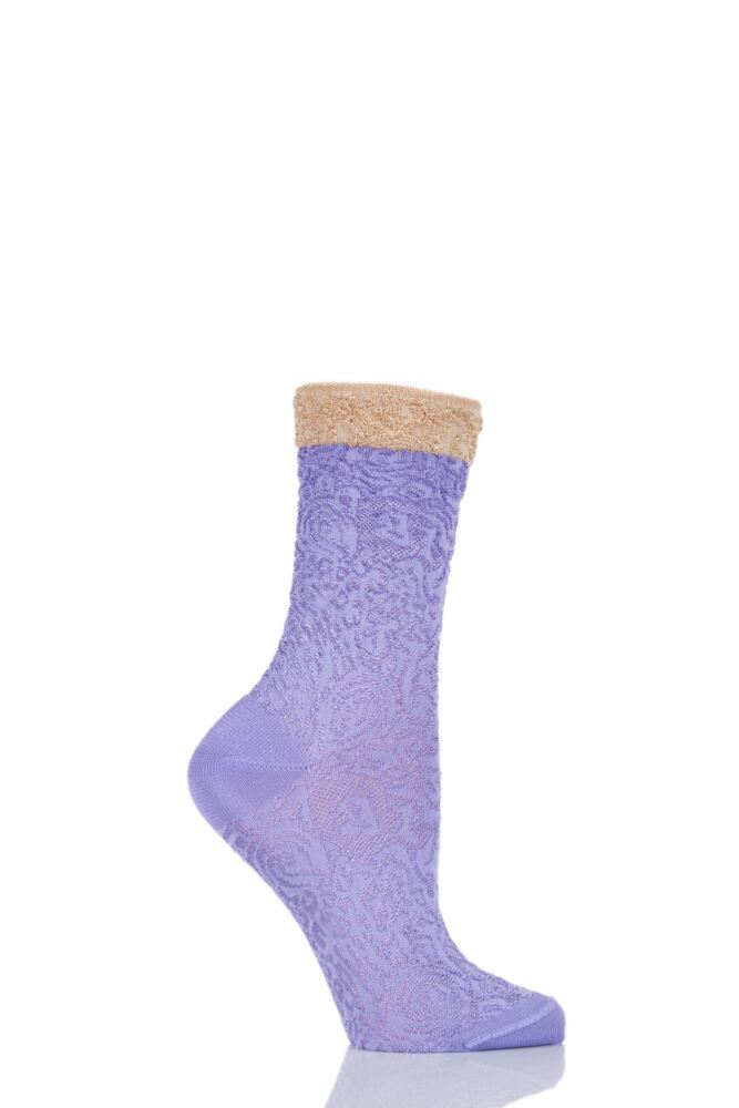 Ladies 1 Pair Falke Shiny Ornament Lacy Brocade Socks