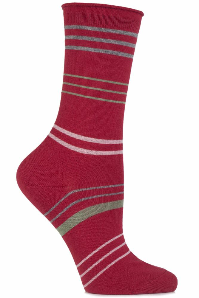 Ladies 1 Pair Falke Cotton Mixed Striped Socks