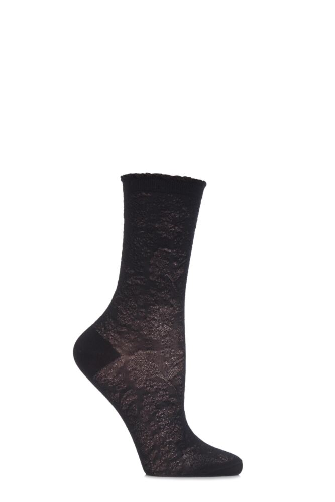 Ladies 1 Pair Falke Floral Raised Embellished Socks
