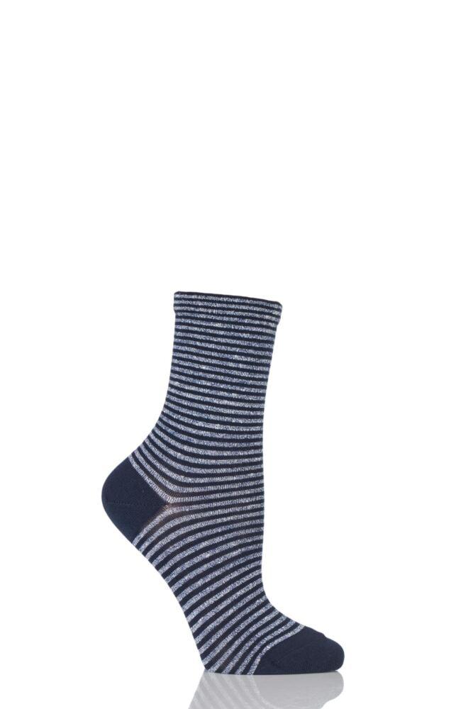 Ladies 1 Pair Falke Even Striped Cotton Socks