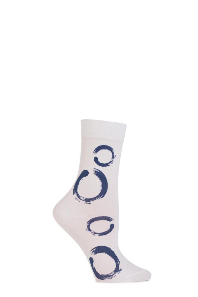 Ladies 1 Pair Falke Cotton Touch Painted Circle Socks