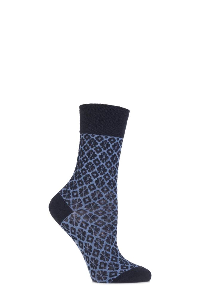 Ladies 1 Pair Falke Virgin Wool Ornamental Tile Textured Socks