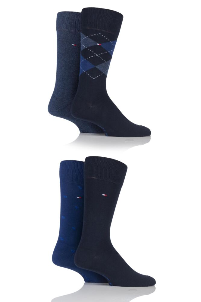 Mens 4 Pair Tommy Hilfiger Gift Box Tinned Cotton Argyle Plain and Spot Socks