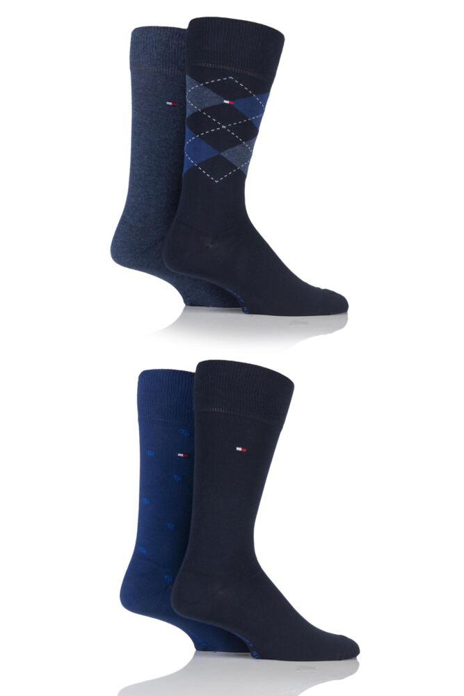 Mens 4 Pair Tommy Hilfiger Gift Box Tinned Cotton Argyle Plain and Spot Socks