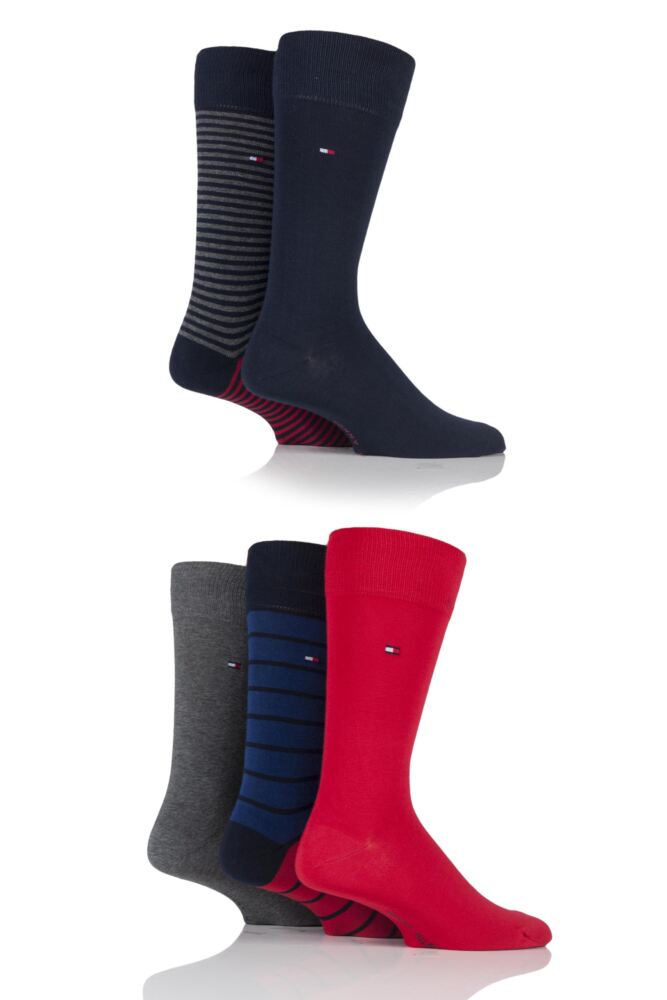 Mens 5 Pair Tommy Hilfiger Gift Box Tinned Cotton Stripe and Plain Socks